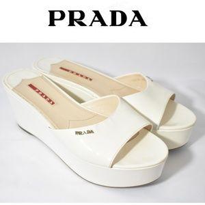 Prada Vintage Slip On White Platform Wedges